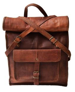 "23"" Large Genuine Leather Backpack for Laptop Travel roll to"