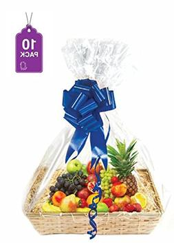 Clear Basket Bags, Large Clear Cellophane Wrap for Baskets a