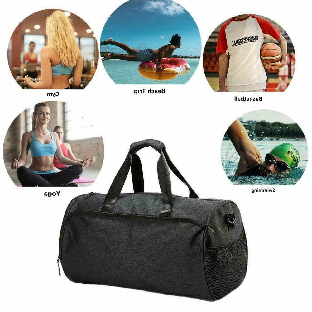 2x Gym Men Women Duffel with Shoes Compartment Pocket