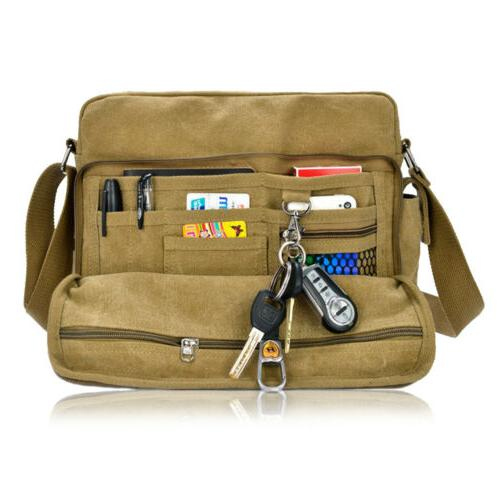 Men Vintage Military Canvas Crossbody Bag School Messenger Shoulder