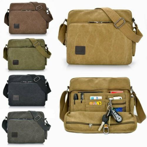 men vintage military canvas crossbody bag school