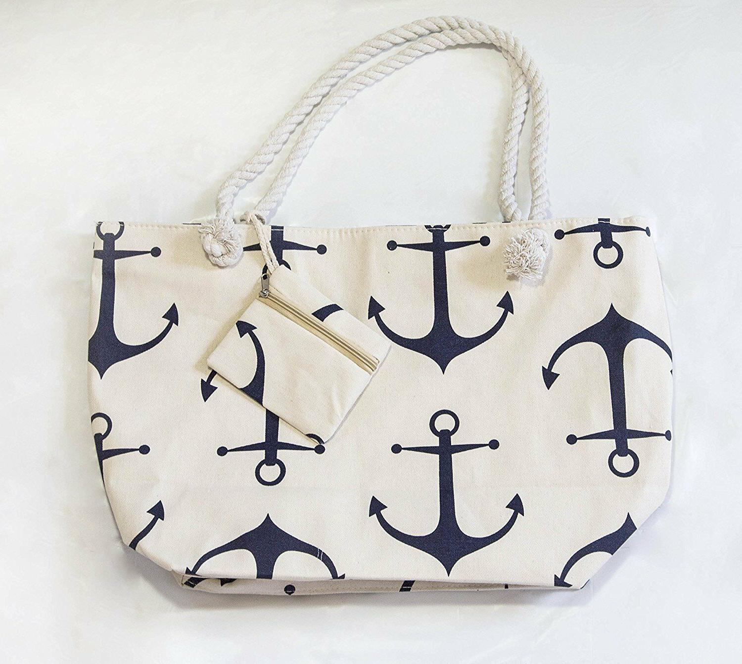 Large Tote for Shopping Bag Zipper Rope Handle