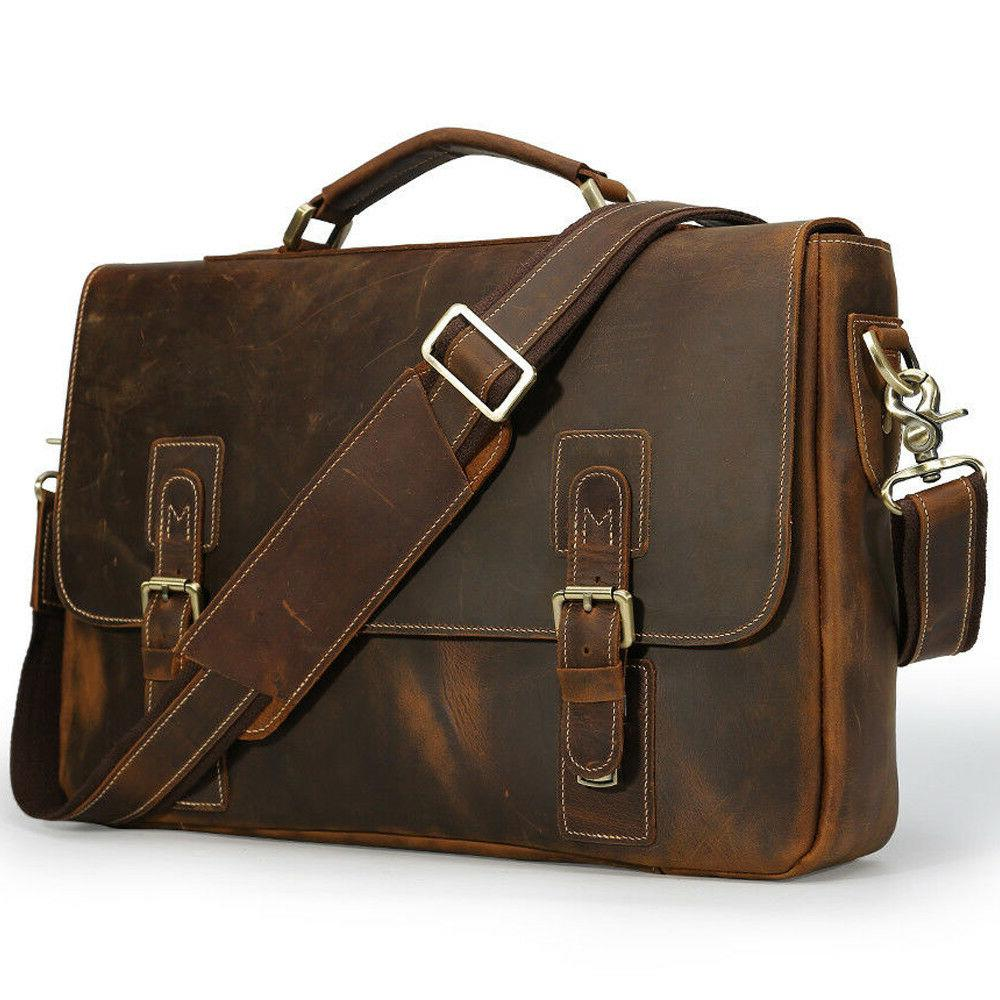 vintage real leather briefcase for men office
