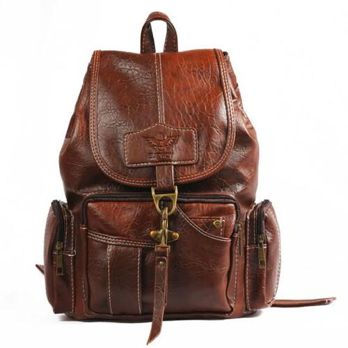 Women PU Shoulder Satchel School Travel Rucksack
