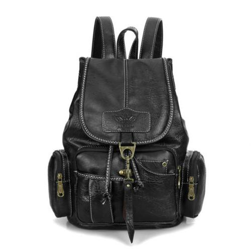 Women Leather Shoulder Satchel Vintage Travel Bag Rucksack