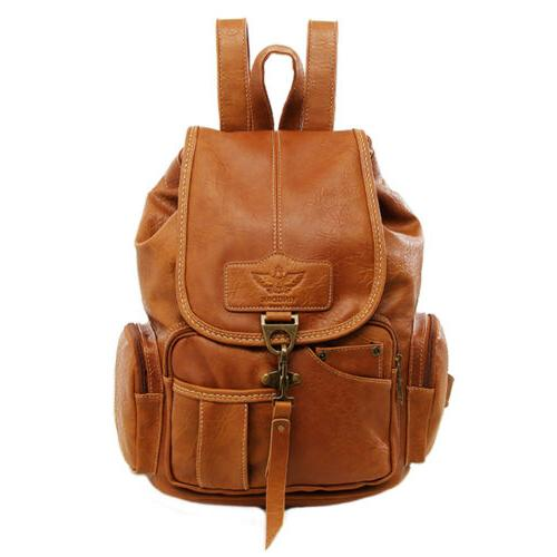 Women Leather Backpack Shoulder Vintage Travel Rucksack