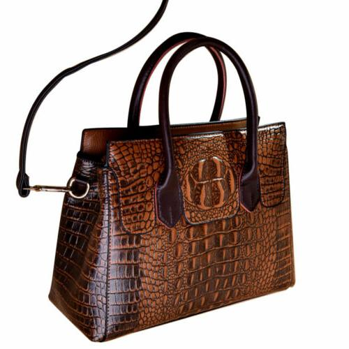 Women's Crocodile Sling Satchel CrossBody Bag Bags