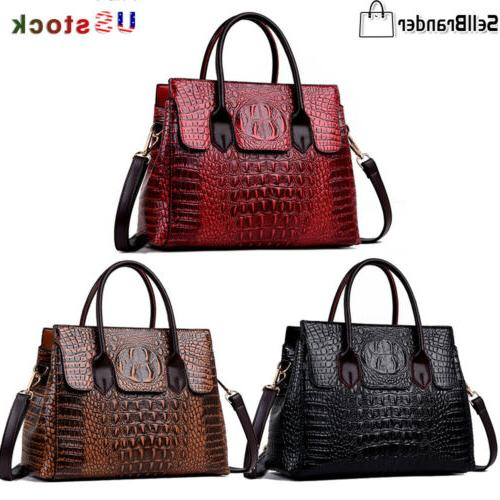 women s crocodile pattern handbag sling satchel