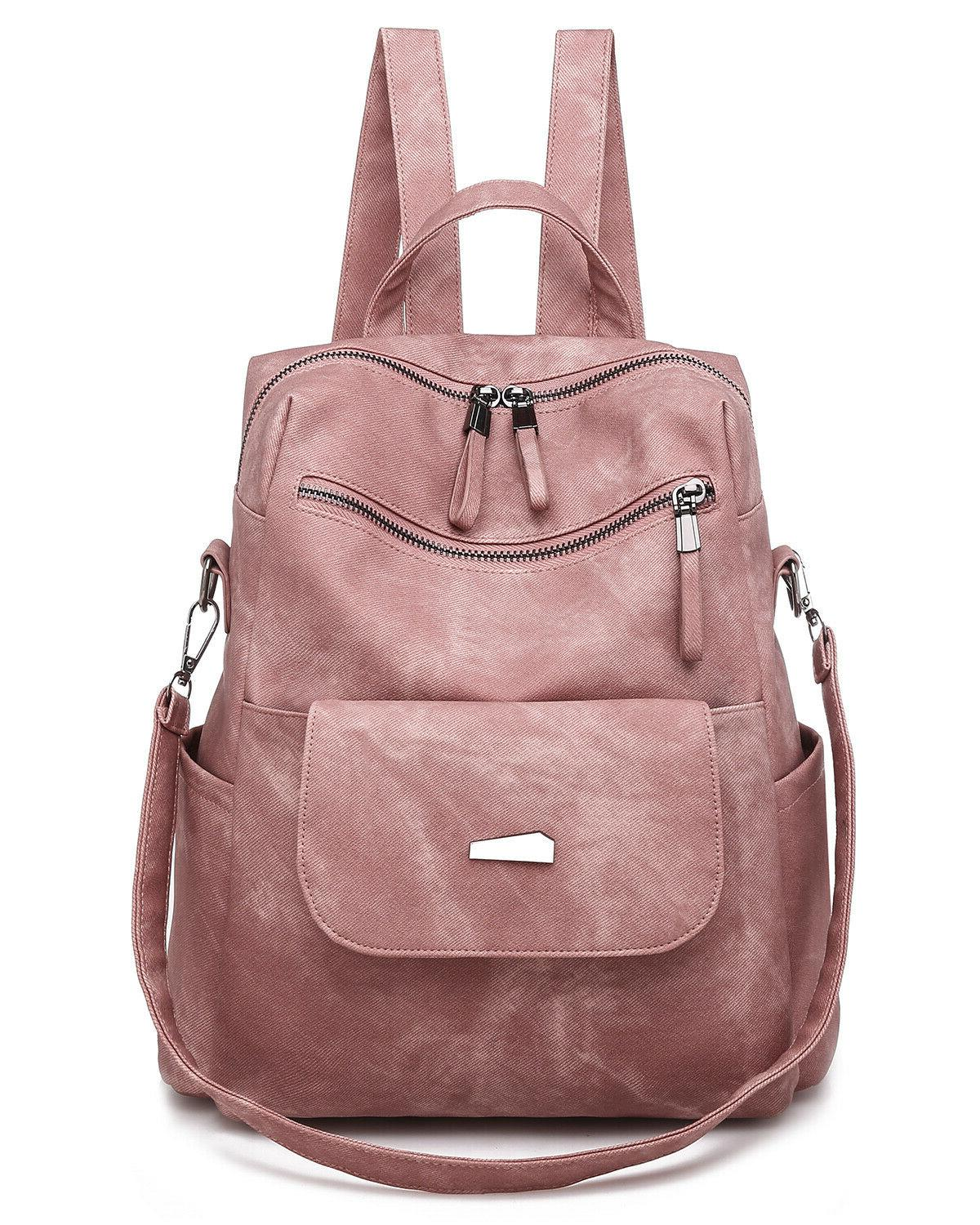 Fashion Leather Backpack Purse Casual Shopping Convertible T