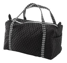 Large Quilted Duffle Bags Black Silver Travel Overnight Carr