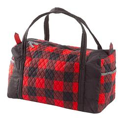 Large Quilted Duffle Bags Plaid Red Black Travel Sports Gym