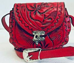 Leather Handbag Purse Girl's Red Hand Tooled Mexican Shoulde