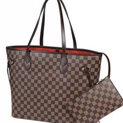 Luxury Checkered Tote Bag for Women Leather Shoulder Strap W