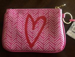 Dabney Lee Make-up Cosmetic Bag Pink Heart Design with Gold