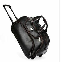 Men Travel Bags Wheeled Pu Leather Boarding Rolling With Whe