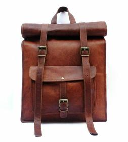 New Genuine Leather Roll Back Pack Rucksack Travel Bags For