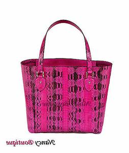 New Unique Pink Cobra Leather Large Woman Tote Shoulder Hand