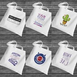 Polyester Cotton Funny Quotes Print Canvas Tote Bag for Shop