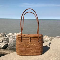 Rattan Lidded Tote Bali Straw Bag w/ Leather Handles