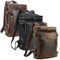 """Real Leather Backpack Men Travel Office Hiling 15.6"""" Laptop"""