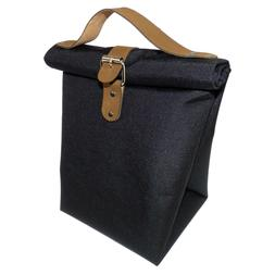Roll Top Lunch Bag for Men, Lunch Pail w/ Leather Straps, an