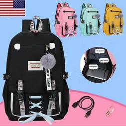 Women Girls USB Backpack Large School Bags For Teenage With