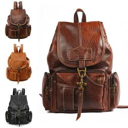 women pu leather backpack shoulder satchel vintage