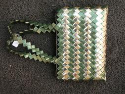 Women's New Handmade Green Gold Color Market Bag Purse Tote